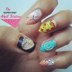 Food and bling nails  #nailart #melbournenailart #superradnailsisters #radnailsisters #icecreamnails #foodnails #nailbling #studnails