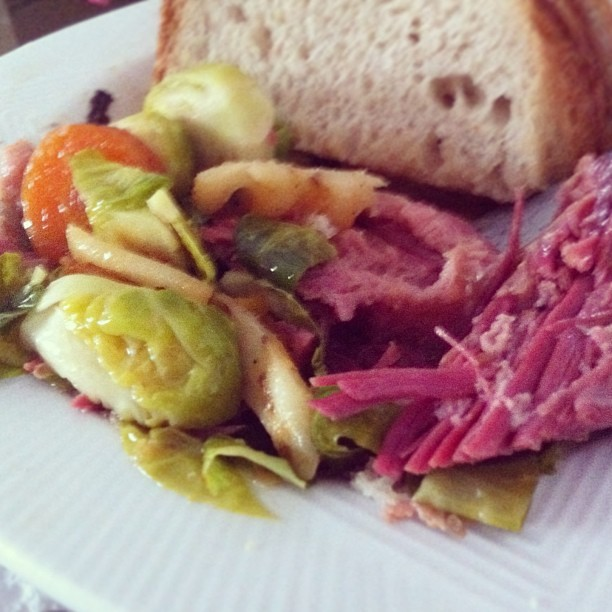 Slow Cooked Corned Beef & Brussels Sprouts with Rye Bread #food