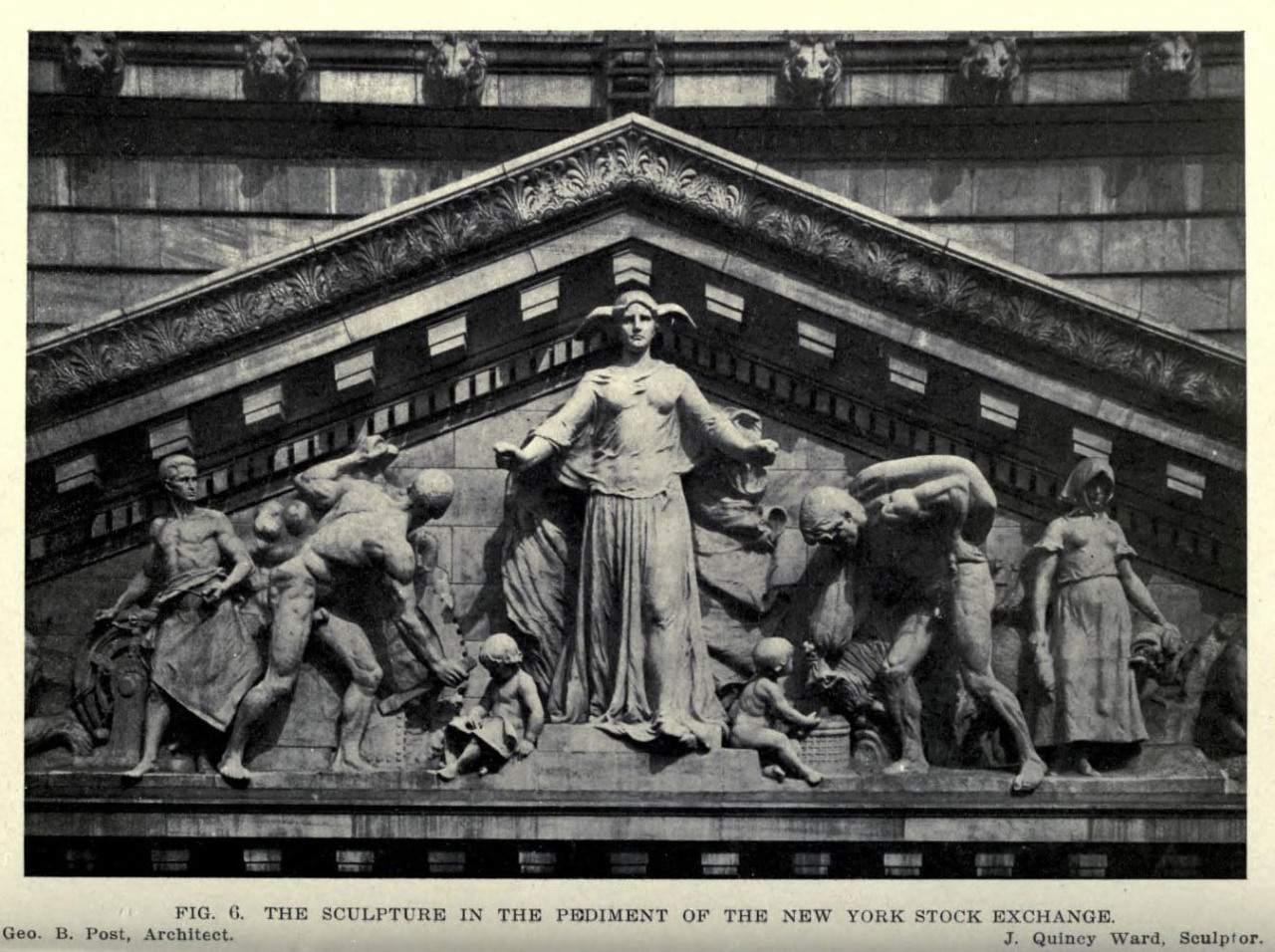 Quincy Ward's sculptures for the pediment of the New York Stock Exchange Building, New York City