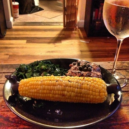Dinner is served and I made it. Sautéed kale, corner on the cob, baked turkey burger infused with chia, garlic and seasoning. And yes, those are dachshund cob holders. #foodporn #corn #dachshund #kale #healthyliving #imadeit #foodforhealth