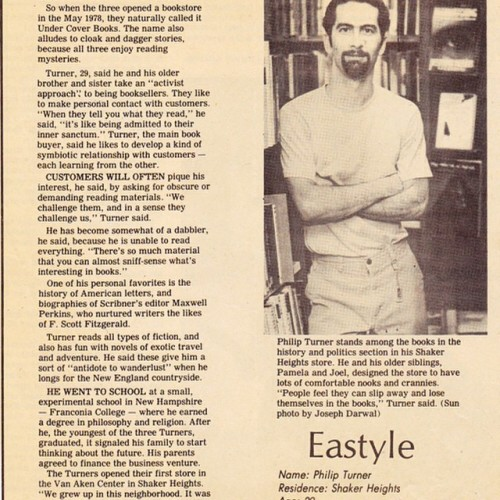 Flashing back to 1983 for #tbt. My Cleveland bookstore&I were profiled in a suburban newspaper.