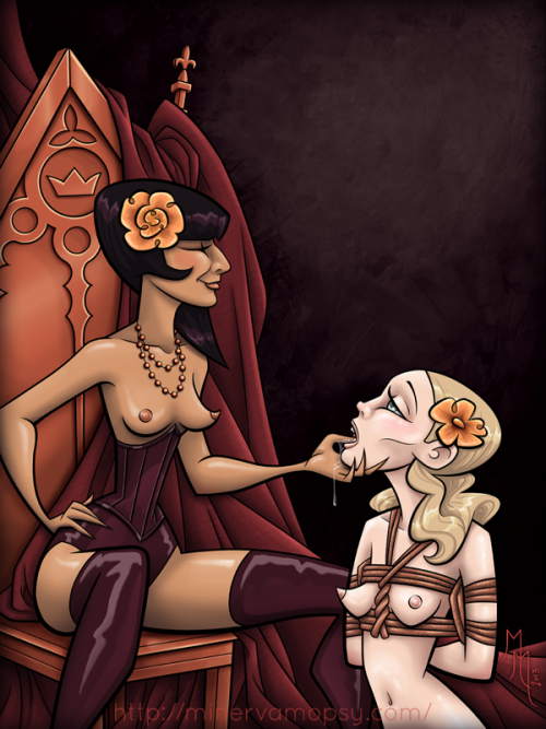 minervamopsy:  THRONE Ahhhhhhhh! I finally finished colouring it! *happy dance* This illustration is loosely based off a sketch I did last year at the Keyhole Sessions and features the lovely, enchanting Madam herself. I wonder what sort of mischief these two will get up to? ;)  Holy AMAZING work by Minerva Mopsy, inspired by our White Wedding Session. swoon.