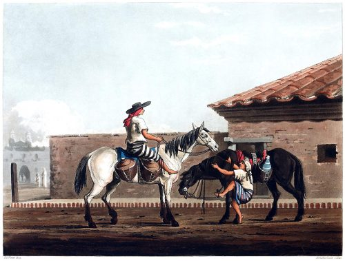 Milk boys.  From Picturesque illustrations of Buenos Ayres and Monte Video, written and illustrated by Emeric Essex Vidal, London, 1820.  (Source: archive.org)