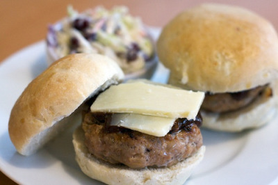 Onion Studded Hamburger Rolls by erincooks on Flickr.