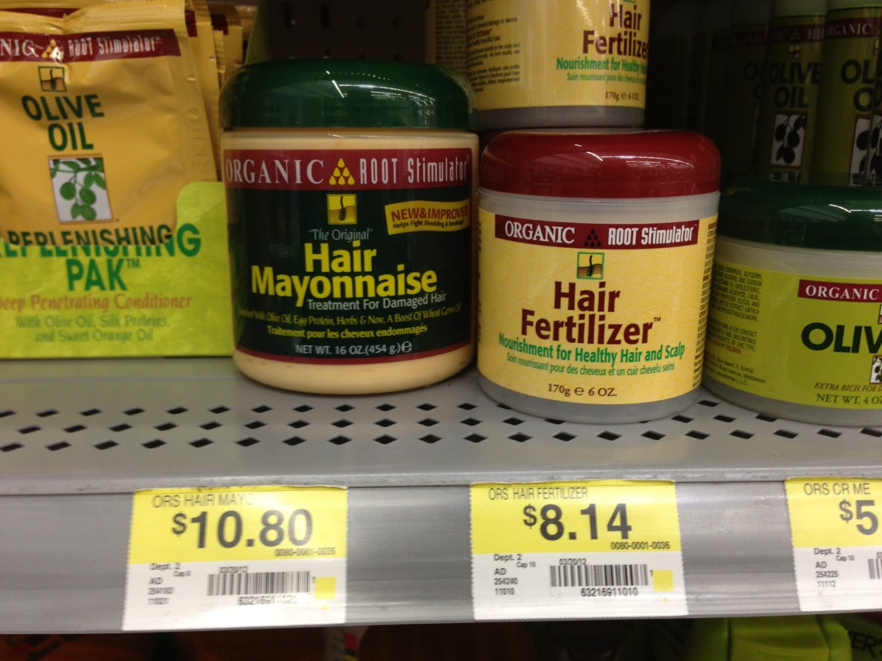 Mmm, hair mayonnaise and hair fertilizer. Well chosen product names. Hurk.