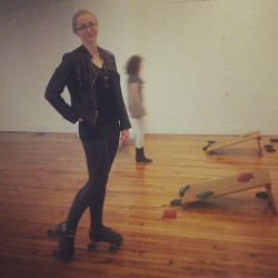Rollerskating and bags at the office happy hour, NBD.  #rollerskates