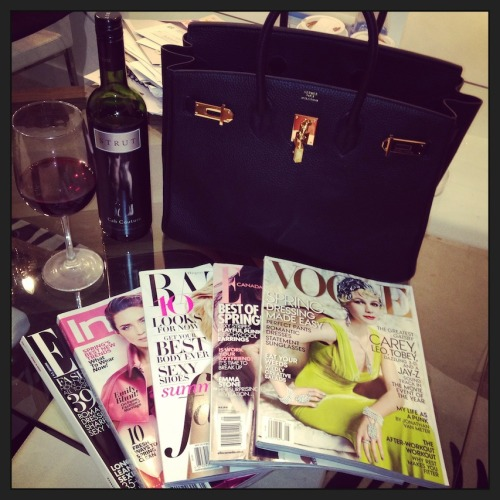 Looking so forward to a relaxing night at home with wine and fashion mags. :)