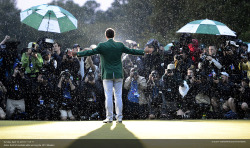 Scott K. Brown's incredible photo of Adam Scott on the 18th green at Augusta, after winning the Masters.