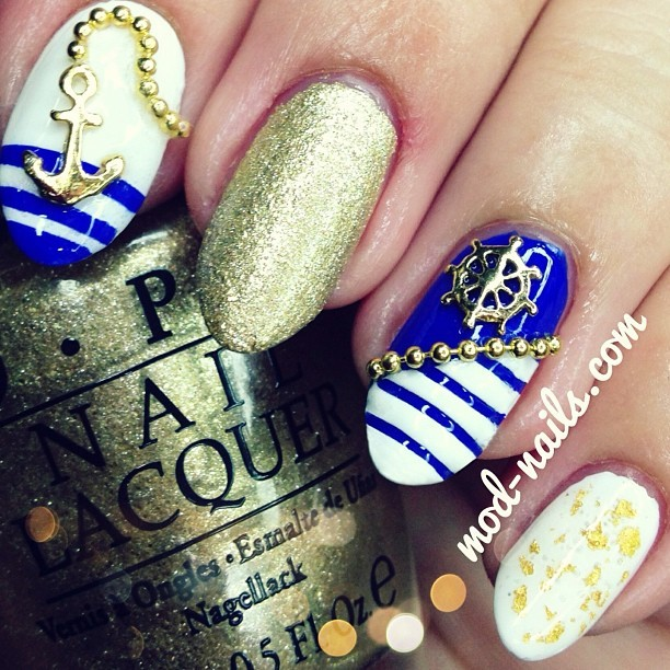 modnails:  Nautical Nails. Visit www.mod-nails.com for more information on this mani<3