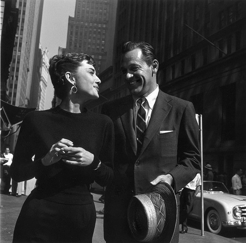 Audrey Hepburn and William Holden in Manhattan - (1954)  It's William Holden's birthday today, April 17th!