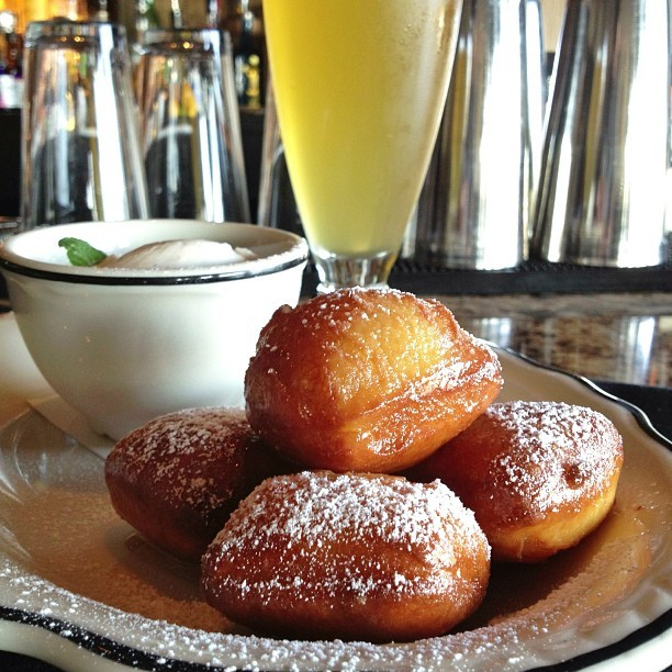"One of The Best #Desserts! @CaskLarder Fried Dough -""wit"" beer doughnuts, soft caramel pudding, citrus-caramel glaze. Dough made w/ Old Southern Wit #Beer (at Cask & Larder)"