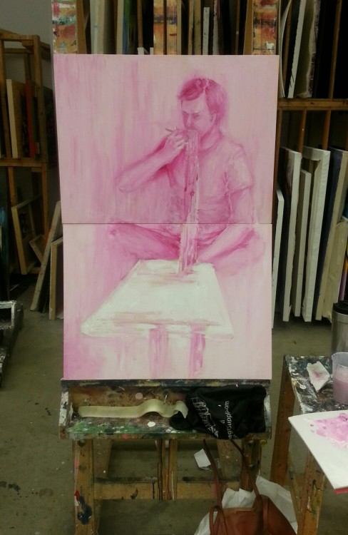Underpainting for yesterday's concept. He still looks unnatural here but hope I can fix that later on.
