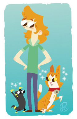 reedicule:  Bunsen, Anna, and G So I was asked to draw a couple characters for Matt Tichenor AKA @cytosisx. Here is Matt's write up on these characters. Character Notes: Bunsen (cat) is the main character - playful normal cat - gets fire powers/magic from G (the lizard). Anna (girl) is Bunsen's owner and a lover of books and archaeology - happily lives alone with Bunsen in a forest outside of the city. G (lizard) is a magical creature who inadvertently gifts Bunsen magical powers - on again off again mentor character for Bunsen.  And I LOVE IT! :DThanks again!!