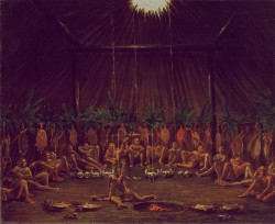 "cavetocanvas:  George Catlin, Interior View of the Medicine Lodge, Mandan O-kee-pa Ceremony, 1832 From the Smithsonian American Art Museum:  The centerpiece of the Mandan religious calendar was the annual enactment of the O-kee-pa, a four-day ceremony that included the painful initiation of the most promising young men of the tribe. Their ordeal began with a four-day fast, strictly supervised by a priest in the medicine lodge. George Catlin witnessed the ceremony on his travels of the Upper Missouri in 1832:  ""I seized my sketch-book, and all hands of us were in an instant in front of the medicine-lodge, ready to see and hear all that was to take place … There were on this occasion about fifty young men who entered the lists, and as they went into the sacred lodge, each one's body was chiefly naked, and covered with clay of different colours; some were red, others were yellow, and some were covered with white clay, giving them the appearance of white men … When all had entered the lodge, they placed themselves in reclining postures around its sides, and each one had suspended over his head his respective weapons and medicine, presenting altogether, one of the most wild and picturesque scenes imaginable … the medicine or mystery-man … was left sole conductor and keeper; and according to those injunctions, it was his duty to lie by a small fire in the centre of the lodge, with his medicine-pipe in his hand, crying to the Great Spirit incessantly, watching the young men, and preventing entirely their escape from the lodge, and all communication whatever with people outside, for the space of four days and nights, during which time they were not allowed to eat, todrink, or to sleep, preparatory to the excruciating self-tortures which they were to endure on the fourth day."""