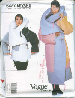 Vogue 1859 Issey Miyake Designer Original Pattern All Sizes Winter Coat OOP from 1996 Box Coat Flying Squirrel