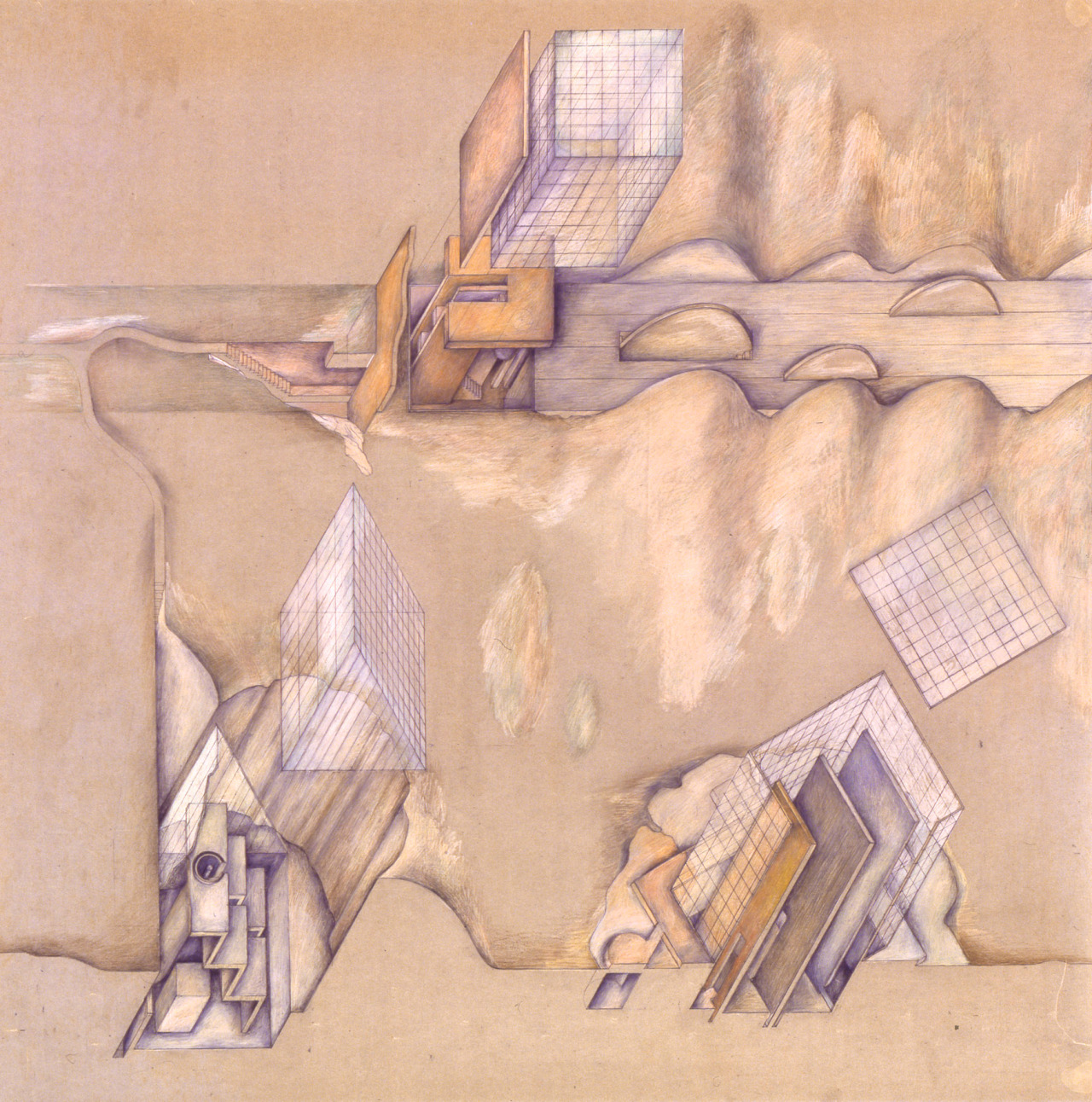 architectural-review:  Raimund Abraham, Triptych of 9 Houses, detail. Pencil & colouring pencil.