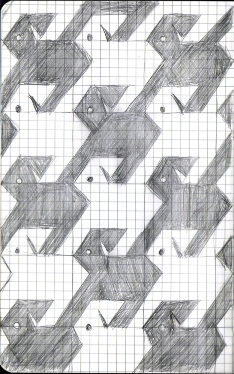"Draw 365, Day 22 - Houndstooth 'Cause they kinda look like dogs, see? Hyuk. If you like houndstooth, but are more of a cat person, I have my ""Meowstooth"" pattern for sale in my Spoonflower store. I LOVE tessellations! I hope to design more in the future."