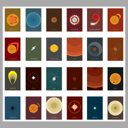 With 24 designs finished, our Celestial Phenomena poster collection if complete! I think I see multiple product lines in your future… Collectible card set anyone? FEATURING: AsteroseismologyBlue GiantBrown DwarfCarbon DetonationCataclysmic Variable StarCoronal CloudCoronal Mass EjectionGamma Ray BurstGravity DarkeningHypergiantLuminous Red NovaMagnetarMagnetic CloudNovaPulsarRed DwarfRed GiantStarspotsStellar Black HoleSolar FlareSuper GiantSupernovaWhite DwarfYellow Hypergiant