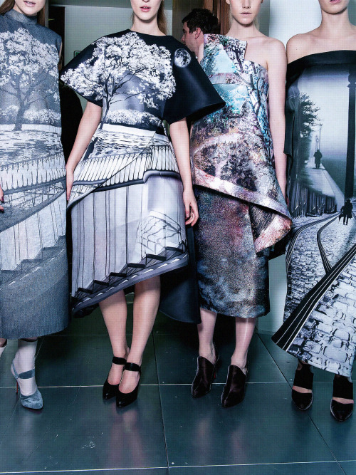 Backstage at Mary Katrantzou Fall 2013.