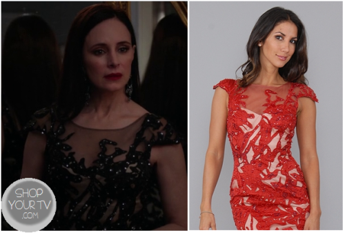 Victoria Grayson (Madeleine Stowe) wears this black sequin and mesh dress to the masked ball in this week's episode of Revenge.Juliette also wore this on Nashville a few episodes ago.It is the It is the Mandalay Red Sequin Lace Dress. You can buy it HERE for $1989