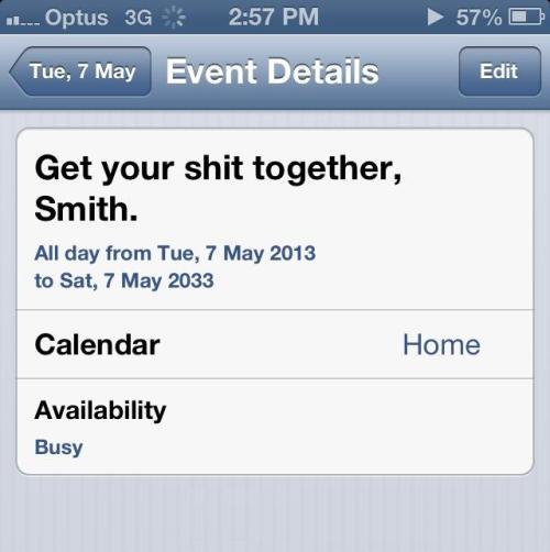 Thanks past drunk me for putting this in my calendar for the next 20 years and setting plenty of reminders. At least you're realistic about progress.