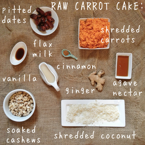 sproutedlife:  It's as simple as cake! Mix together in a food processor-  -2 cups shredded carrots -1 cup pitted dates  -1/4 tsp or tiny sliver of ginger -1 cup coconut flakes  -1/2 tsp cinnamon Separately, mix together in food processor-  -1 1/2 cup soaked cashews -1/2 cup flax milk  -3 tbsp agave  -1/2 tsp vanilla In a baking dish, lined with parchment paper, fill bottom with carrot mixture. Pour cashew cream over the top, cover and place in freezer for a couple hours or overnight. Take out and thaw for about 5-10 mins before indulging in this deliciousness! I'd love feedback on this. Let me know what you think. Xo