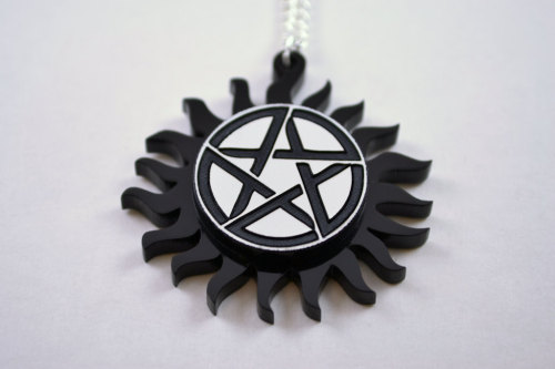 dpnsndice:   GIVEAWAY TIME I have a friend who's into SPN and tried to get me into it, but sadly not my cuppa. so this is for the supernatural fans. the anti-possesion pendant from Licketycut. poor thing has never seen the outside of its box Rules and Info: Re blog as much as you want *Just be mindful of other's dashes…* ONLY Likes count (i think it wont upset the staff if it's just likes) There will only be one winner I will ship anywhere Once the winner is chosen I will contact them asap Have your ask open! Ends MAY 24th at 11:59 HST You don't have to follow me. in fact don't, anyone who does will be disqualified