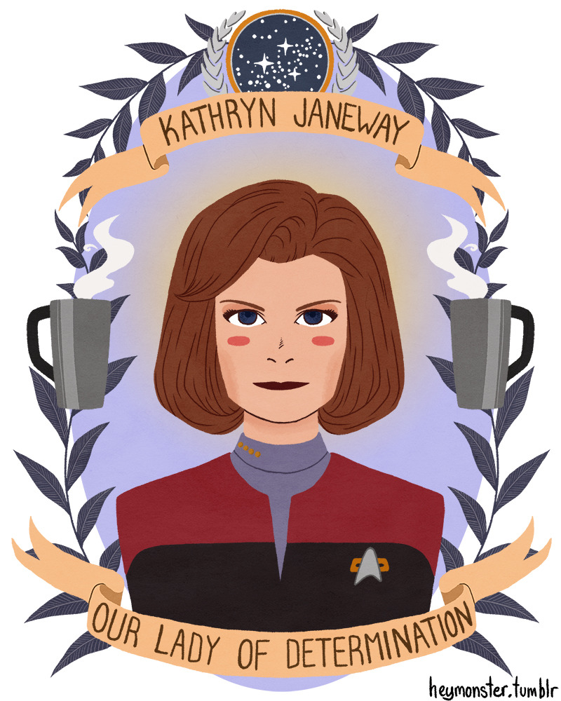 poupon:  grapeykins:  heymonster:  Kathryn Janeway, Our Lady of Determination.   yes good  My mom's girlfriend on the side  I finsihed DS9 yesterday and started Voyager. I've determined I saw a grand total of two episodes on the first run. But Janeway was always awesome.