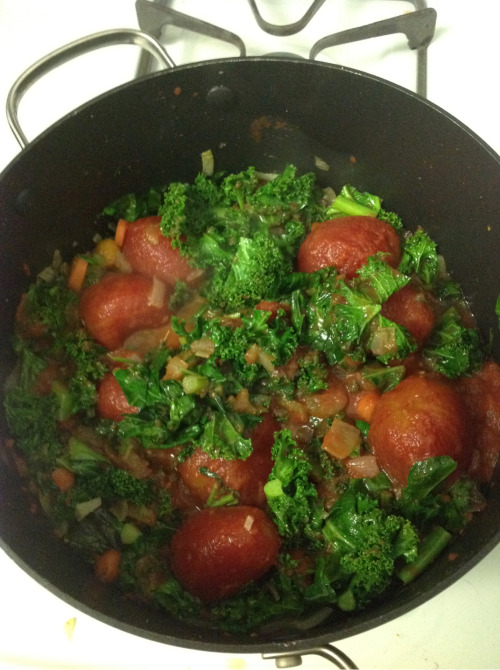 Trying out vegetarian ribolita with Brendan… Great way to use all that kale and collards.  Replacing chicken stock with veggie stock and pancetta with capers.  Let's see how it goes.