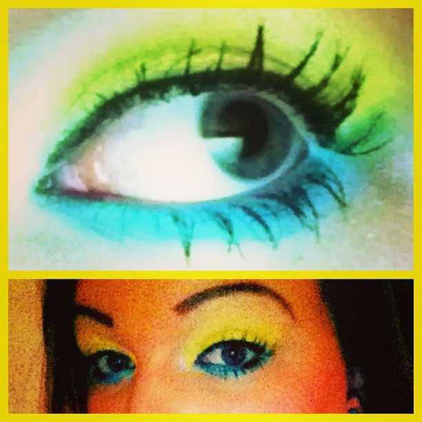 "My pretty awesome blue and ""gold"" eye makeup for the WVU game. I wish it was better quality :( #teamspirit #makeup #yellow #blue #eyes #pretty #wvu"