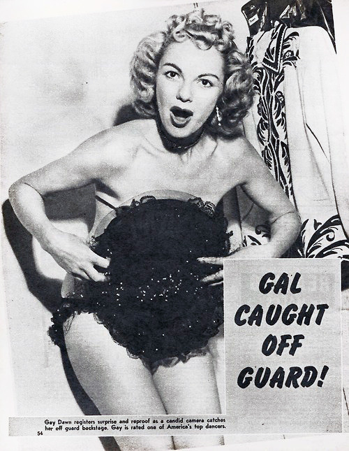 GAL CAUGHT OFF GUARD! Gay Dawn appears in the pages of the September '57 issue of 'MR. Annual'..