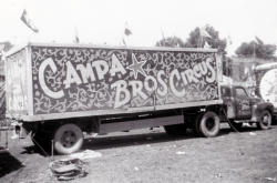 Campa Bros Circus (Sign painting on the side of a truck)