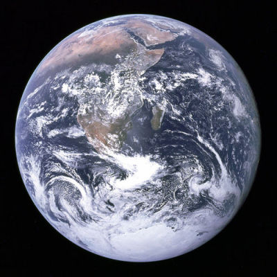 40 years ago — The Blue Marble Original caption:   View of the Earth as seen by the Apollo 17 crew traveling toward the moon. This translunar coast photograph extends from the Mediterranean Sea area to the Antarctica south polar ice cap. This is the first time the Apollo trajectory made it possible to photograph the south polar ice cap. Note the heavy cloud cover in the Southern Hemisphere. Almost the entire coastline of Africa is clearly visible. The Arabian Peninsula can be seen at the northeastern edge of Africa. The large island off the coast of Africa is Madagascar. The Asian mainland is on the horizon toward the northeast.