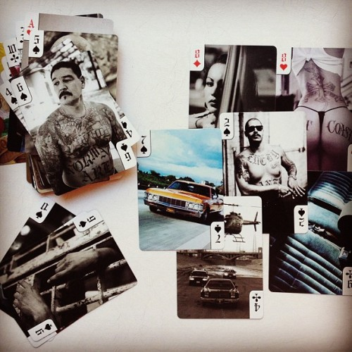 Portraits of Los Angeles' low rider street culture, on a deck of cards. Photos by Estevan Oriol. #LA #photography #lowrider #losangeles #lawoman #chicano #cards ##estevanoriol #la  (at Downtown LA)