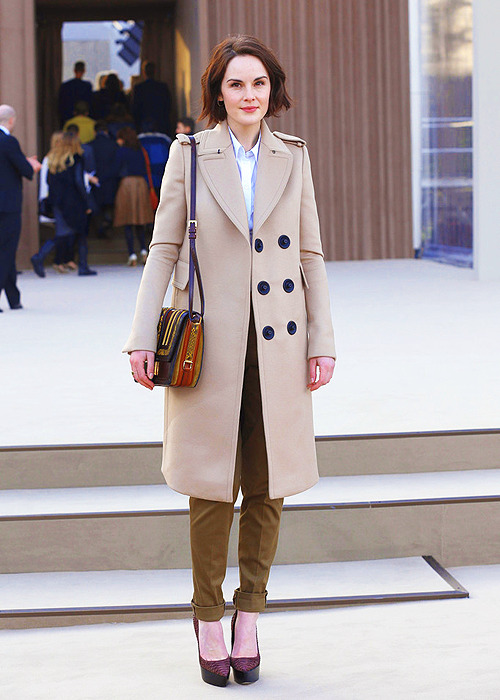 Michelle Dockery arrives to attend the Burberry Prorsum show during London Fashion Week Fall/Winter 2013/14 at on February 18, 2013 in London, England.