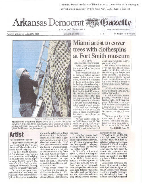 Check out this article in the Arkansas Democrat Gazette about the upcoming Gerry Stecca installation. Did you know that Stecca has used close to 200,000 clothespins in all of his installations?