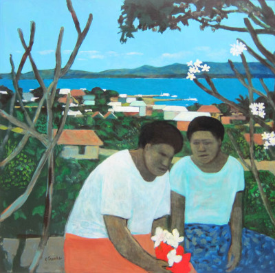 """The Conversation"" by Ray Crooke I love this painting, even though his art is often of Thursday Island and Fiji, it reminds me of living in Samoa, and even when we travelled to French Polynesia and the paintings of Paul Gaugin."