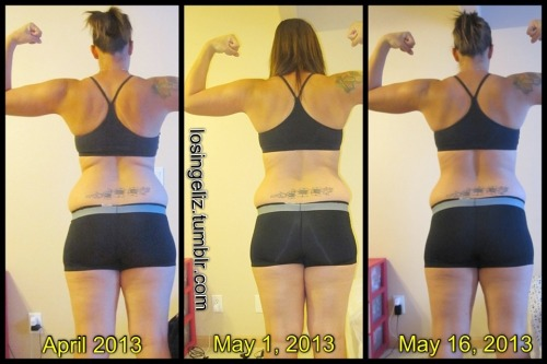 losingeliz:  BACK PROGRESS  April 2013 - Present.. Cardio + Weights = Progress {{ Look @ that cupcake disappear }}