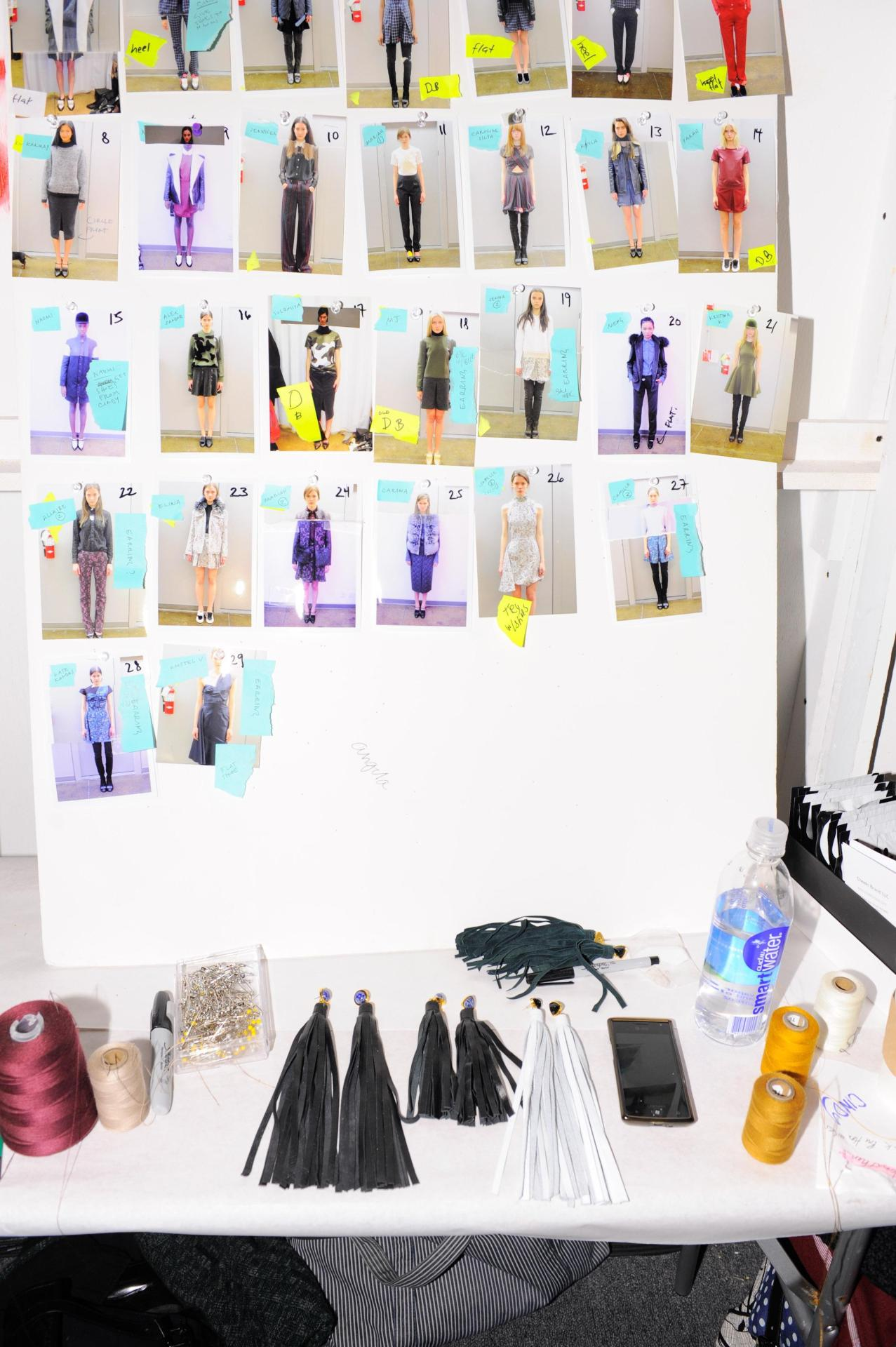 Backstage at Timo Weiland Spotted before the Timo Weiland Fall 2013 Show at Lincoln Center was a table of all the glorious looks and show essentials, including Cheeki products who sponsored the event. One of the items each model wore was a pair of Philippe Matignon stockings. We found a few of this brands stockings available on eBay in case you care to emulate the gorgeous women from this presentation.  (Photo Credits: Dean Neville/BFAnyc.com. Text by Jauretsi)