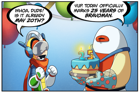 Even tho it was yesterday … HAPPY BIRTHDAY BRAVOMAN!!!  Check out the strip by clicking the link below!  And while you're there check out the new animated cartoon! in the VIDEO section  www.shiftylook.com/comics/bravoman http://shiftylook.com/videos/episodes/bravoman