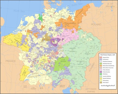 landofmaps:  Highly detailed map of the Holy Roman Empire, as it stood before the 30 Years War [1600x1268]