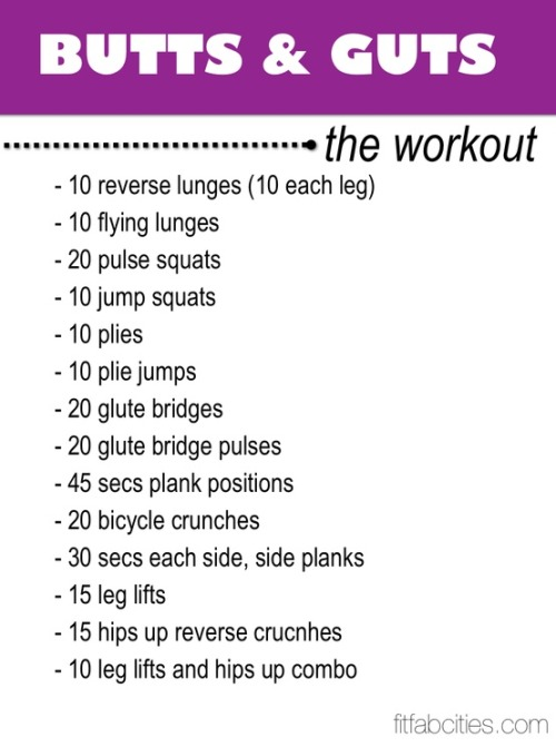 Printable Workout: Butts & Guts…The Workout