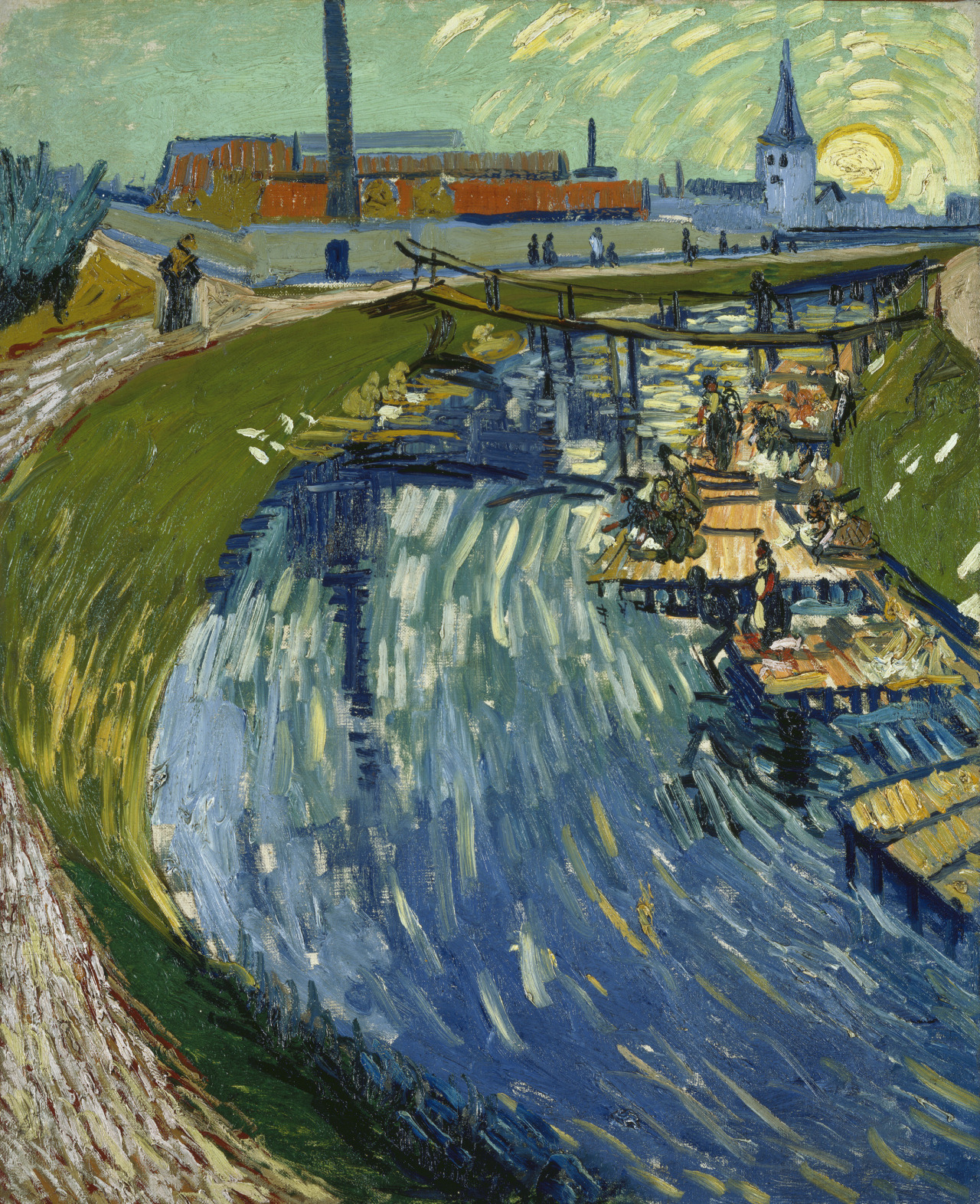Canal with Women Washing, Vincent van Gogh, 1888