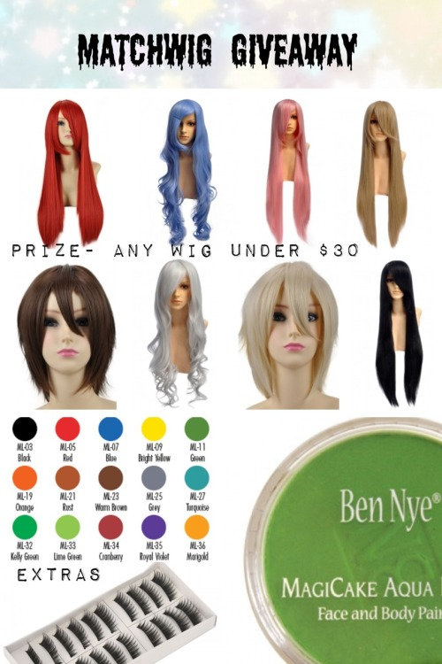 amikoto:  MatchWigs Giveaway~! MatchWigs (www.matchwigs.com) asked me to host a giveaway for them! I had another MatchWigs giveaway post, but that one has incorrect info. Please do not reblog that one! Prize- -Any 1 MatchWigs wigs from their website $30 or under. Extras-  -Any three Ben Nye body-paints. -10 pair fake eyelashes. (Optional) This giveaway is more for cosplayers. If you want the wig for fashion and don't need the bodypaint, just tell me. (If you are the winner.) Rules- -Reblog this post ONLY ONCE. -You must be following me. -Giveaway blogs are allowed. -Likes do not count. -This post must reach 3k notes. MatchWigs have one of the best cosplay wigs for sale. Heat resistant and high quality fibers. If you don't win, you can still buy one of their amazing wigs here: www.matchwigs.com This is INTERNATIONAL. Giveaway ends on May 24. If you have any questions, feel free to message me here: http://www.ami-sempai.tumblr.com/ask Note- The wig is shipped by MatchWigs, the extras are shipped by me.