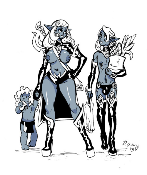 Dark elf family, some morning sketching. Markers, Photoshop.