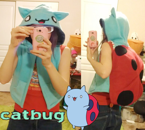 today I made a catbug hooded vest.