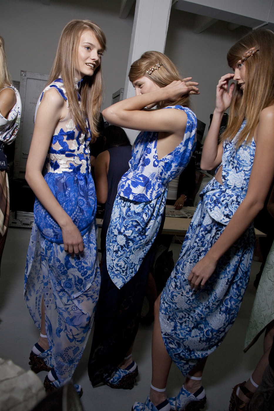 Backstage at Rodarte Spring 2011