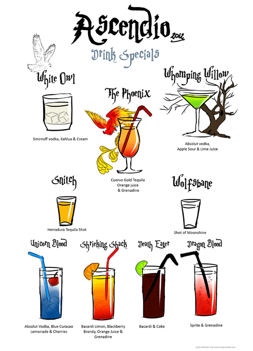 lolfactory:  Welcome to Harry Potter Cocktails - via LOL Factory … it's something!    //