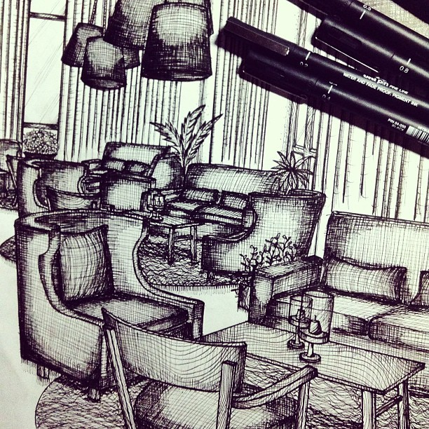 Hotel reception area in pen & ink. Sakit sa kamay.. and pwet 😂