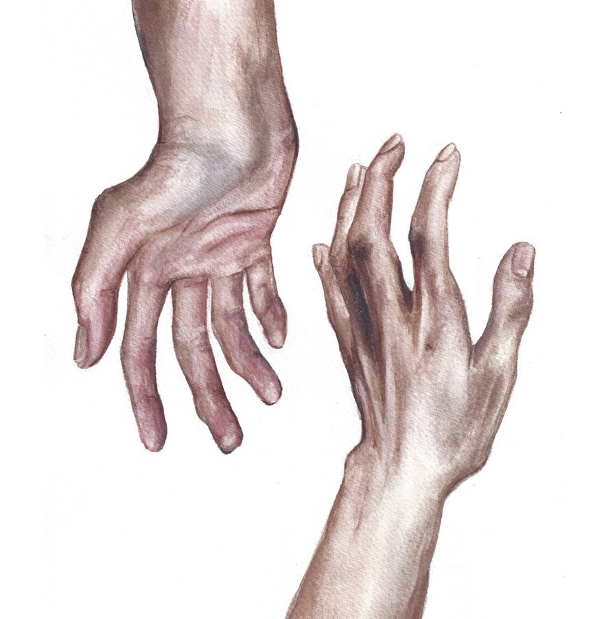 entires:  I painted some hands (watercolour).